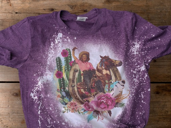 T-Shirt Cowgirl Vintage Purple